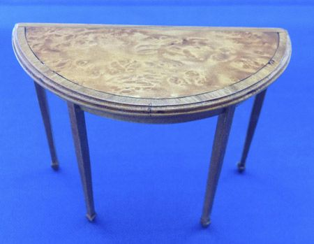 260. Half Moon Table, Veneer Inlay