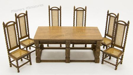 265. Charles II Hall Chairs & Refectory Table